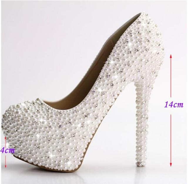 4cef4d9d3bec6 Luxury 4Inches high heel lady s formal Jeweled Women s full Pearls Beaded  Bridal Evening Wedding Prom Party Bridesmaid shoes