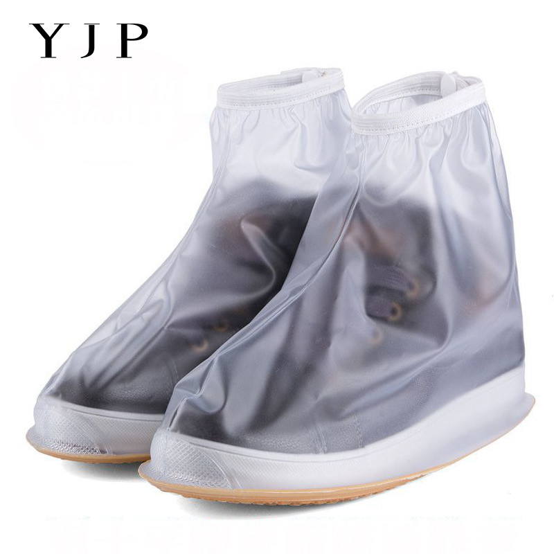 YJP Waterproof Rain Reusable Shoes Covers All Seasons Slip resistant Zipper Rain Boot Overshoes Men Women