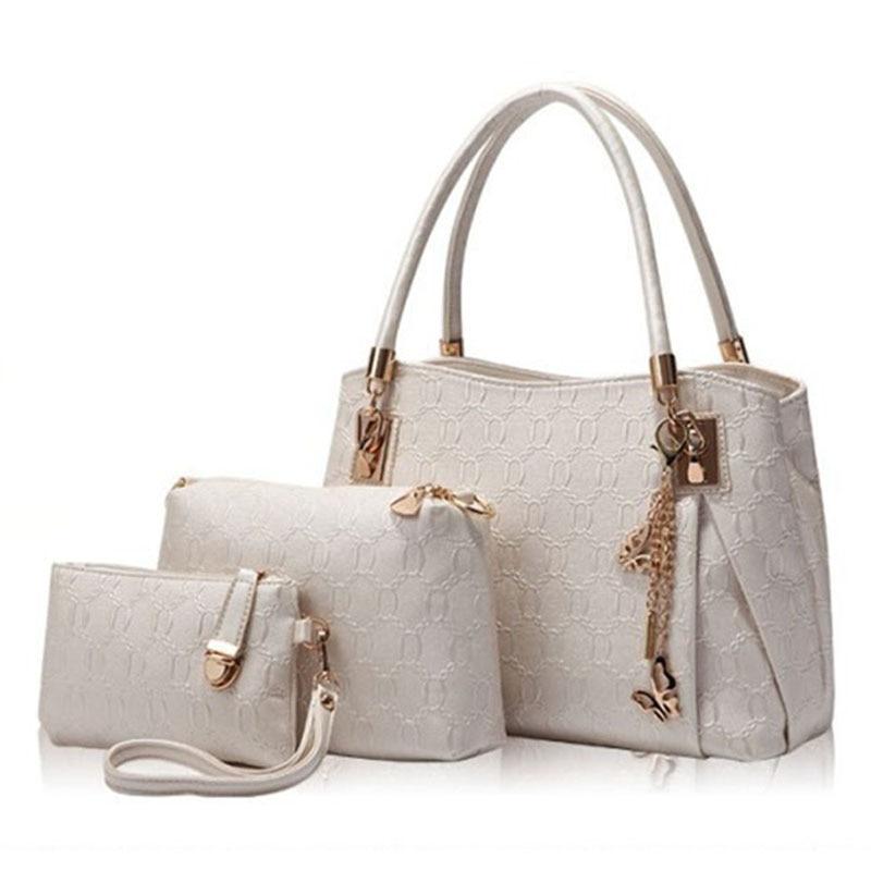 c4e6b02caab KNY KAVIN New Women Bags Set 3 Pcs Leather Handbag Casual Shopping Bags  Ladies Brand Designer Bag Handbag+Messenger Bag+Purse