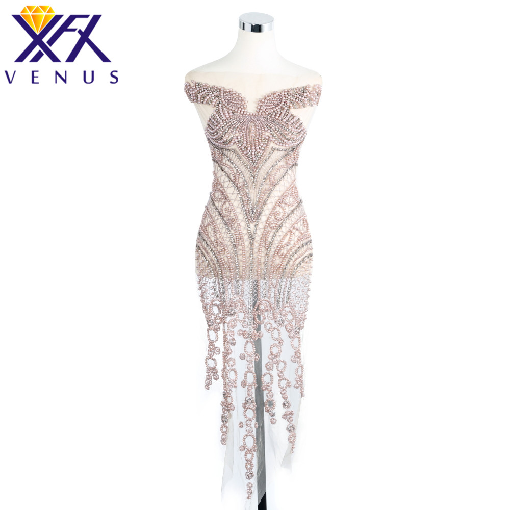 XFX VENUS 1 Set Hand Sewing On Rhinestone Applique Clothes trim Patch Wedding Dress Trimming Costume Embellishment Accessories