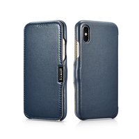 Icarer Luxury Corrected Grain Leather Flip Side Open Case Colorful Design For iPhone X Leather Flip Case For iPhoneXs