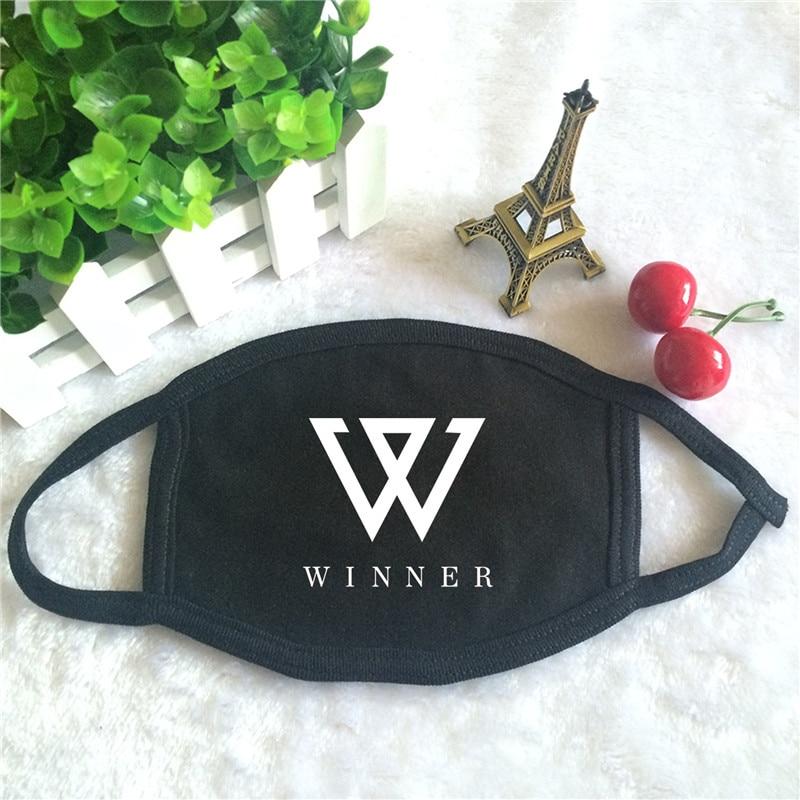 Kpop WINNER Album EVERYD4Y Logo Print K-pop Fashion Face Masks Unisex Cotton Black Mouth Mask