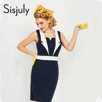 Sisjuly Women Bodycon Vintage Dress Nautical Style Solid Dark Blue Patchwork Sleeveless Bodycon Women Dresses Penci