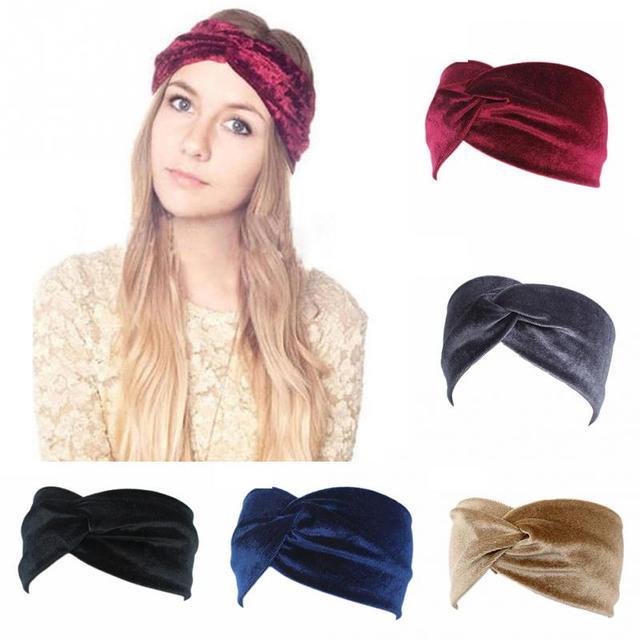New Fashion Elegant Women knit cross design Velvet Twist Headband girl Hair Band Turban solid color Headband Hair accessories
