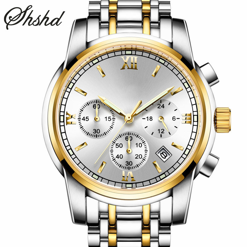 Business Analog Dual Display Wristwatches Gold Watches For Men Luxury Big Dial Clock Stainless Steel Band Luminous Reloj Hombre oulm men dual movt big dial japan luxury military watches men stainless steel strap wristwatches male golden clock