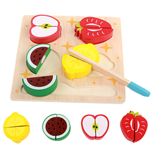 Montessori Toys Educational Wooden Toys for Children Early Learning 3D Kitchen Cutting Fruit Vegetables Board Real Life