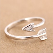 Jisensp Fashion Jewelry Adjustable Arrow Crystal Rings for Women Gifts Open Engagement Ring Punk Style Wedding