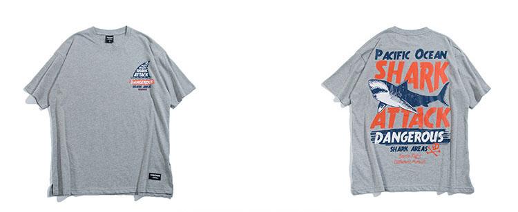 Aolamegs T-shirt Men Dangerous Big Shark Printed Short Sleeve Tee shirt Fashion Street Hip Hop Creative Tops Couples T shirts (12)
