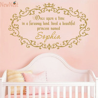 Once Upon A Time Quotes Wall Decals Custom Baby Girls Princess Named Vinyl Wall Sticker Nursery