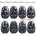 Unique High Quality Natural Black Obsidian Carved Buddha Lucky Amulet Pendant Necklace For Women Men pendants Jade Jewelry Gift