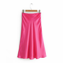 2019 Femmes Casual Za Soie Satin Jaune Rouge Jupe Femme Printemps Été Chic A ligne Lisse Solide À Long Jupes faldas mujer moda