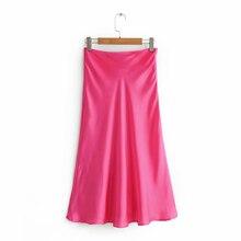 2019 frauen Casual Za Silk Satin Gelb Rot Rock Weiblichen Frühling Sommer Chic A line Glatte Solide Lange Röcke faldas mujer moda