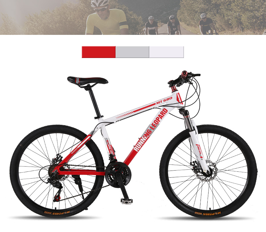 Running Leopard mountain bike 26-inch steel 21-speed bikes double disc brakes variable speed road bikes racing bike