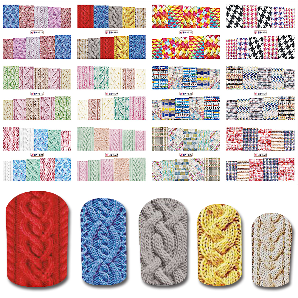Hot 1sheet 3d Unique And Chic Design Woolen Cloth Sweater Grid Pattern Nail Art Sticker Manicure
