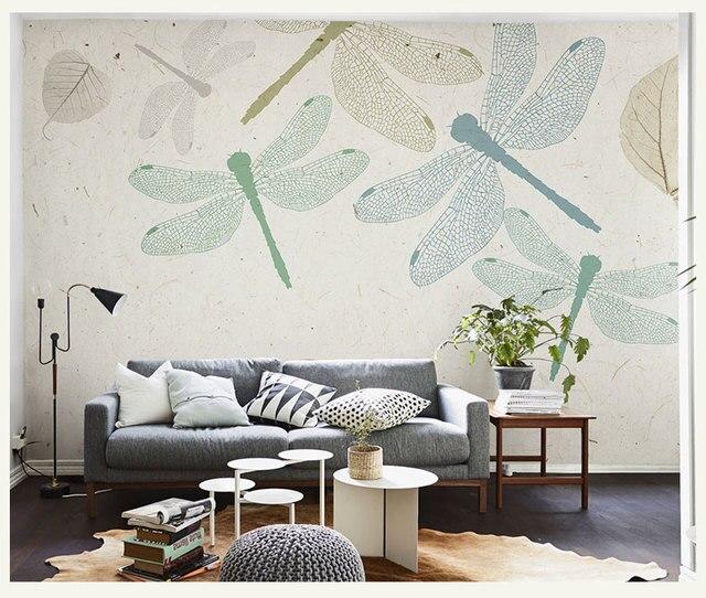 Wall Murals Wallpaper Flower Mural Living Room Hand Painted Dragonfly Oil Painting Elegant
