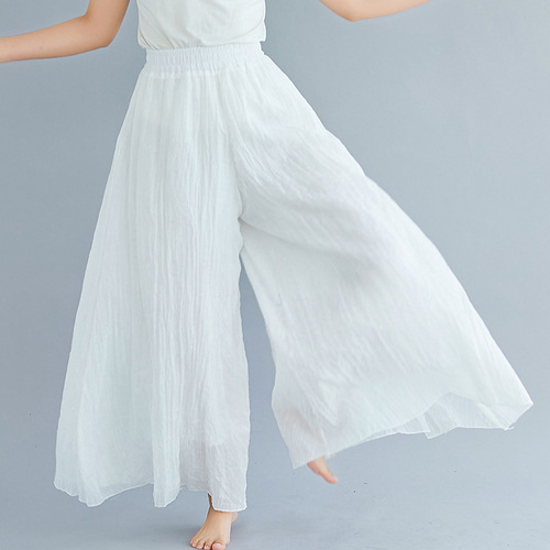 Ankle-length Pant Casual Loose Elastic Waist Multiple Color Wide Leg Pants 2019 New Clothes National Style Women Pants