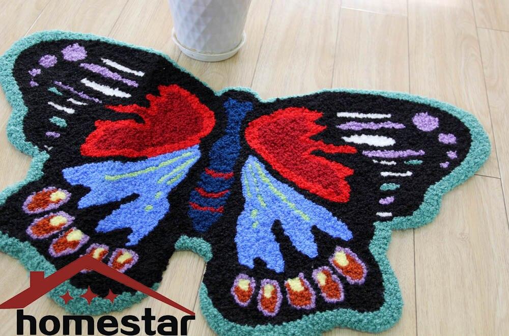 Butterfly Floor Mat Embroidery Rug Decorative Rugs Small Carpets Bathroom  Mat Livingroom Area Rug Door Mat