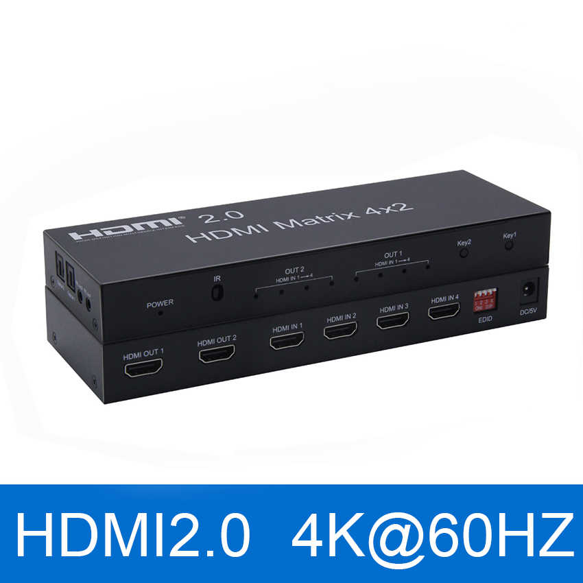 2,0 HDMI Matrix 4x2 4K @ 60Hz HDR Schalter Splitter 4 in 2 out YUV 4:4:4 optische SPDIF + 3,5mm jack Audio Extractor HDMI Switcher