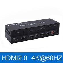 2,0 matriz HDMI 4x2 4K @ 60Hz HDR interruptor divisor 4 en 2 salida YUV 4:4:4 óptico SPDIF + Audio jack de 3,5mm Extractor conmutador HDMI