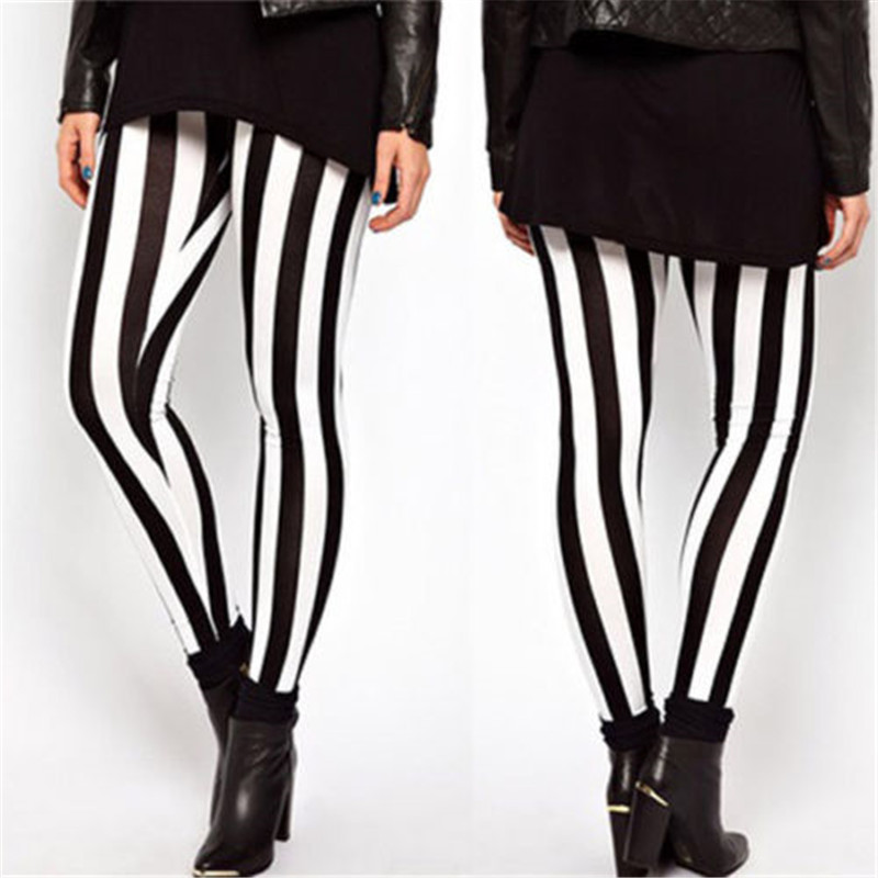 New Black White Striped Vertical Printed   Leggings   Gothic Creative Fitness Women Punk Shape Slim Sexy Popular Pants