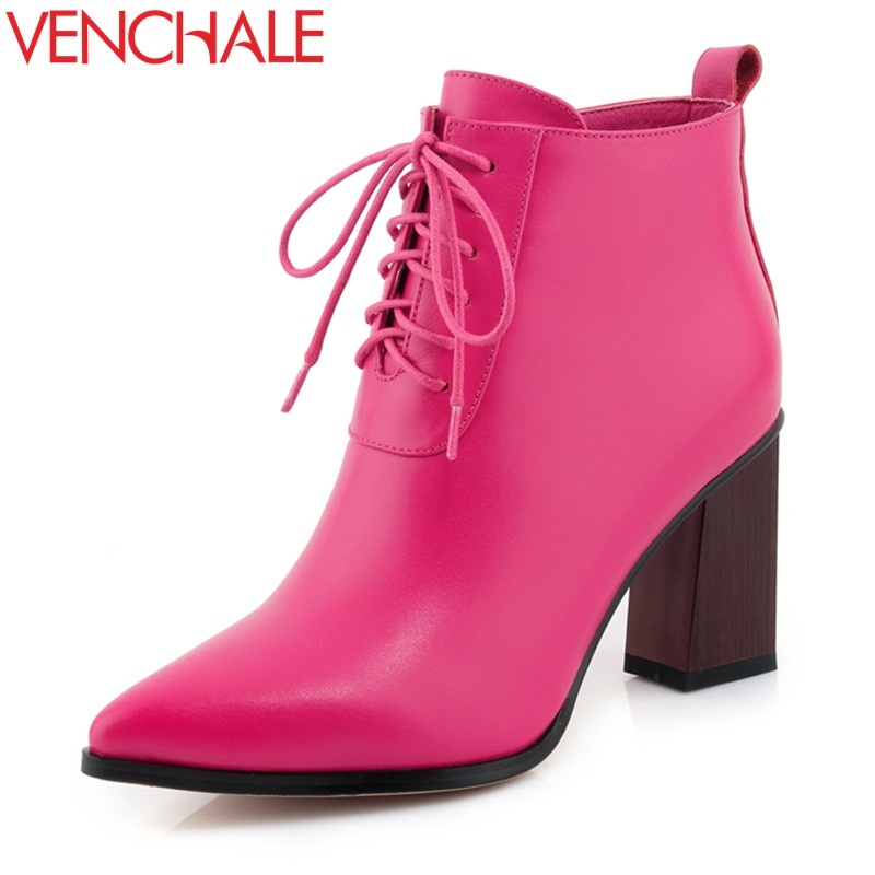 VENCHALE women ankle boots winter new come ladies fashion high heel pointed toe genuine leather side zipper ladies retro booties 2018 new arrival fashion winter shoe genuine leather pointed toe high heel handmade party runway zipper women mid calf boots l11