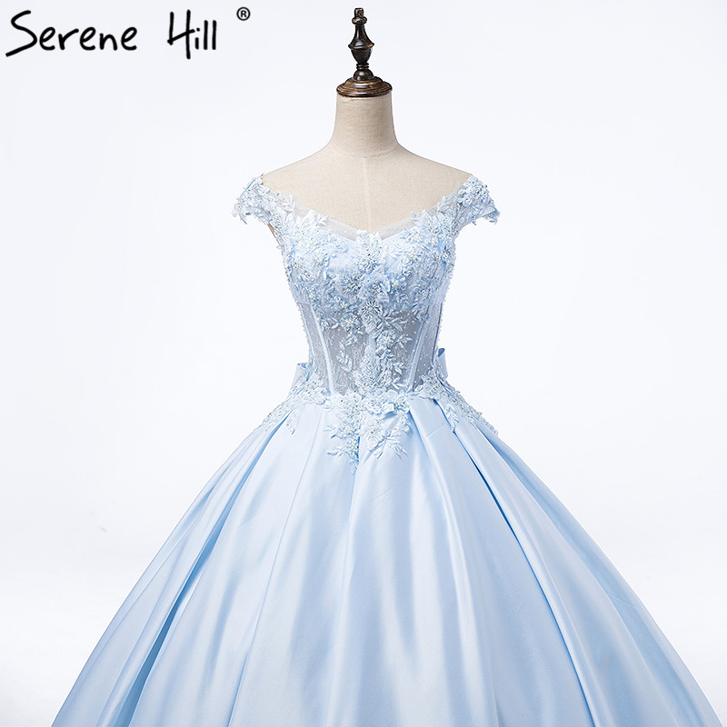 Hot Sale Blue Appliques Satin Wedding Dress Tiffany Blue Beading ...