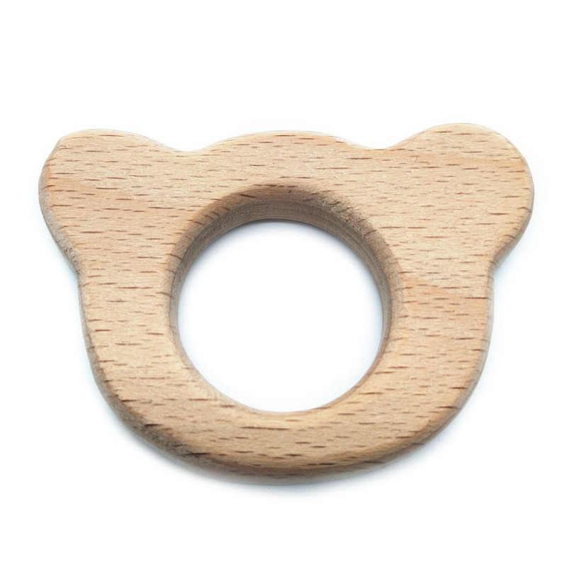 Милый прорезыватель из дерева с рисунком для маленьких девочек, 1 шт., зубные кольца для детей в форме натурального животного, прорезыватель из бука, игрушка-брелок