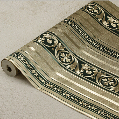 European Luxury Gold Striped Wallpaper PVC 3D Embossed Gold Foil Wallpaper Roll Damascus Mural Wall Paper Living Room Bedroom beibehang wallpaper gold foil brushed texture gold wallpaper ktv gold scrubbing roof paper wallpaper living room wall paper
