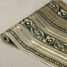 European Luxury Gold Striped Wallpaper PVC 3D Embossed Gold Foil Wallpaper Roll Damascus Mural Wall Paper Living Room Bedroom