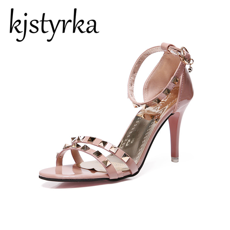 Brand Elegant Pink Beige Black Rivets Thin High Heels Women Sandals Female Summer 2018 New Open Toe Word Buckle StrapParty Shoes xczj sandals female 2018 summer new thick with bow tie lattice shoes korean students wild word buckle high heels