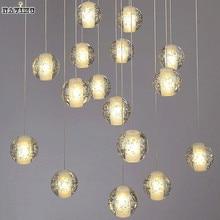 Modern LED Crystal Pendant Lights Fixtures for Dining Room Magic Ball Loft Stair Crystal Light Meteor Shower Rain Pendant Lamp