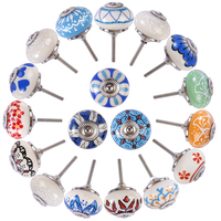 18pcs Ceramic Pull Handle Hand Painted Printing Ceramic Door Cabinet Knob Drawer Pull Handles for Cabinetsvariety Style Hot Sale