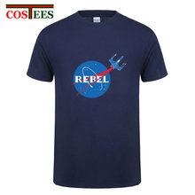 Rebel Belle T hemd männer SpaceX T-shirt Elon Moschus raum & seiner reise nach Mars T-shirt Star Wars rakete t-shirt tesla Roadster Tees(China)