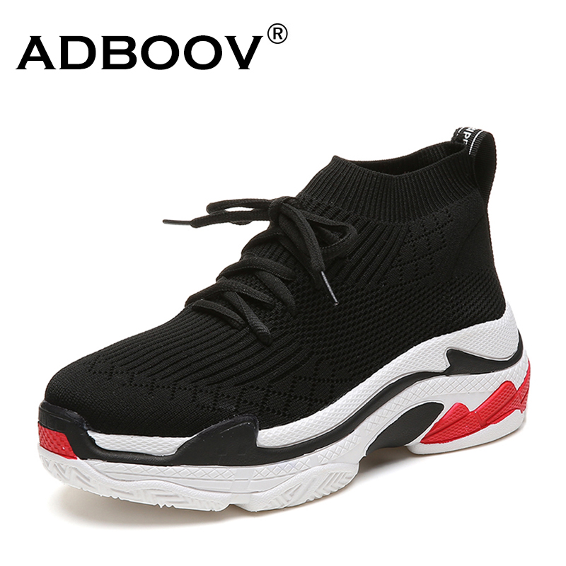 ADBOOV 2018 High Top Fashion Sneakers Women Breathable Knit Upper Platform Shoes Tenis Feminino Casual Shoes Women Black/Red sneakers