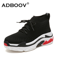 ADBOOV 2018 High Top Fashion Sneakers Women Breathable Knit Upper Platform Shoes Tenis Feminino Casual Shoes Women Black/Red