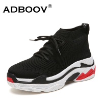 ADBOOV 2018 High Top Fashion Sneakers Women Breathable Knit Upper Platform Shoes Tenis Feminino Casual Shoes
