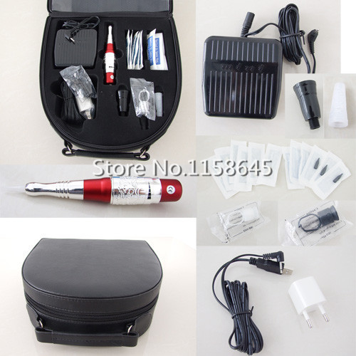 New 2016 Professional Tattoo Permanent Makeup Kit Durable Hanpiece Pen For Eyebrow Lips + Needles Tips Case Cosmetic Supply #j professional permanent makeup tattoo eyebrow pen machine 50 needles tips power supply set us plug drop shipping wholesale