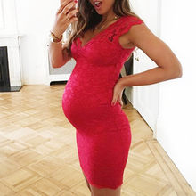 Maternity Sexy Dress Women's V-Neck Maternity Clothes for Pregnant Summer Sleeveless Lace Evening Party Pregnanty Dress 2019(China)