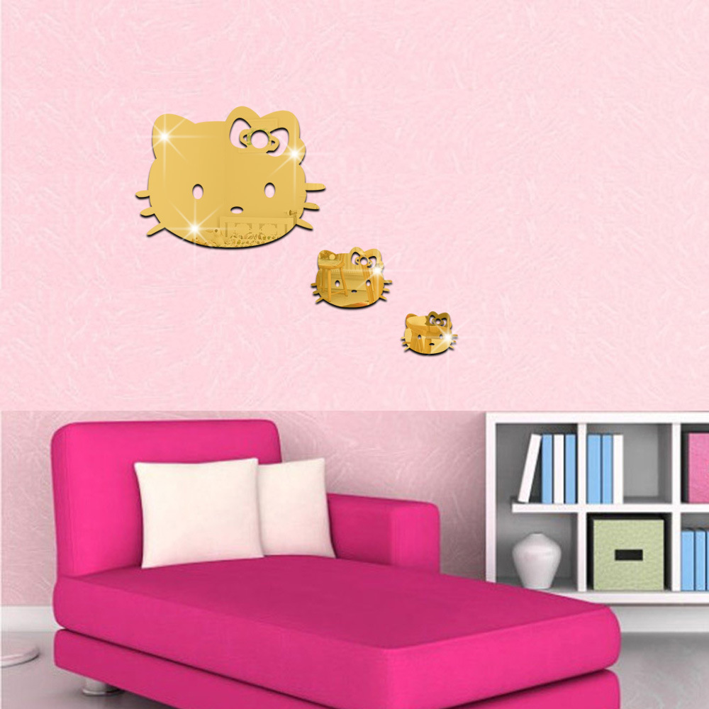 3D 3Pcs Cartoon Hello Kitty Wall Sticker Kids Bedrooms Decoration ...