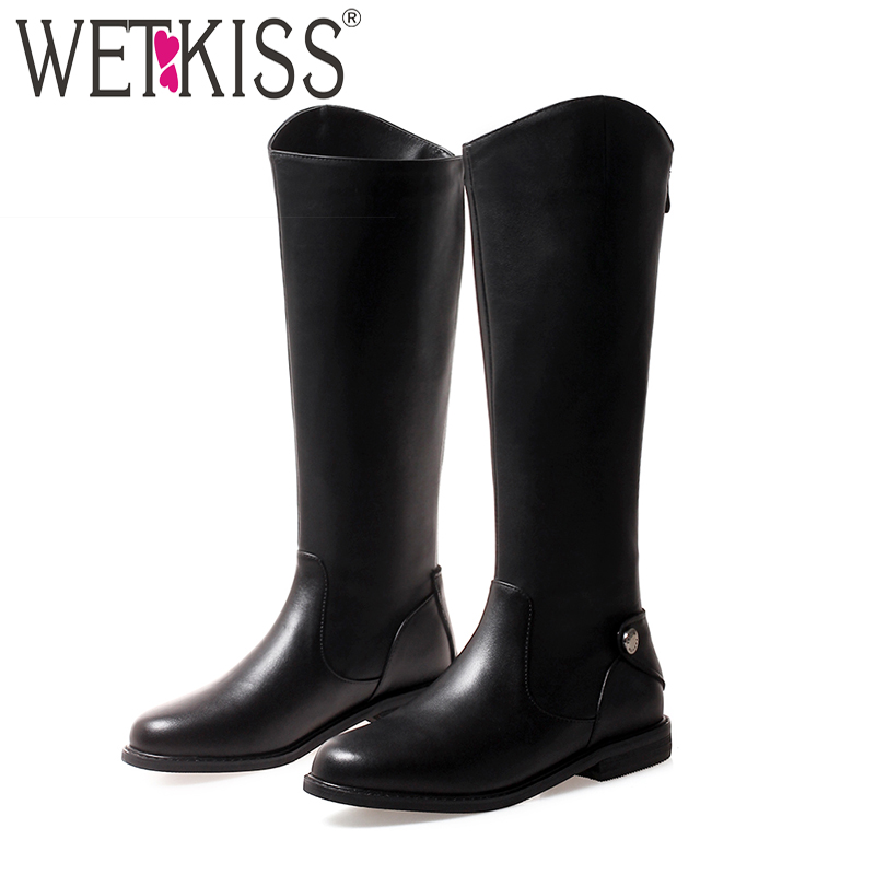 WETKISS Winter Motorcycle Women Knee High Boots Zip Round Toe Footwear Cow Leather Low Heels Female Boot Riding Shoes Woman 2018 wetkiss denim high heels women boots zip round toe footwear fashion stretch female boot ripped knee high shoes women 2018 winter