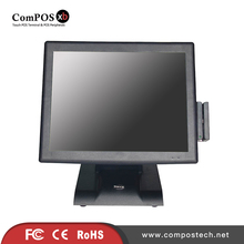 Free Shipping 15 Inch Touch Screen All In One PC With Card Reader And VFD For Supermarket