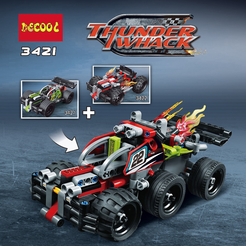2018 Decool Racing Car TECHNIC 2 in 1 warrior off-roader Race Car Model building block sets bricks toys FIT for LEGO 42072 42073 608pcs race truck car 2 in 1 transformable model building block sets decool 3360 diy toys compatible with 42041