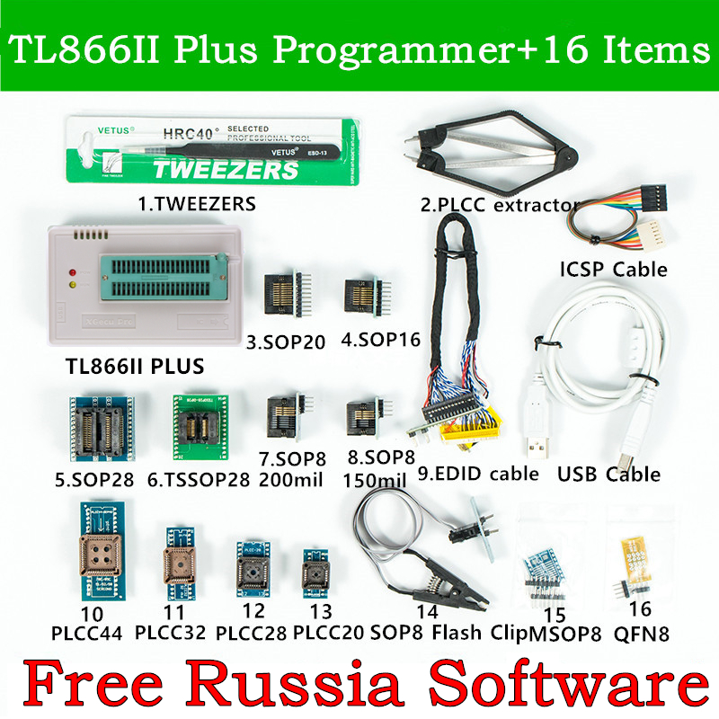 HOT SALE] 100% ORIGINAL TL866II PLUS programmer +24 adapters +IC