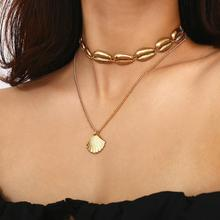 Boho Fashion Gold Necklace Bohemian Sea Shell Choker Summer Pendant Link Chain Silver for Women Jewelry