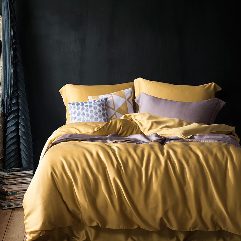 Solid color summer soft tencel silk bedding set king size queen yellow duvet cover soft bed