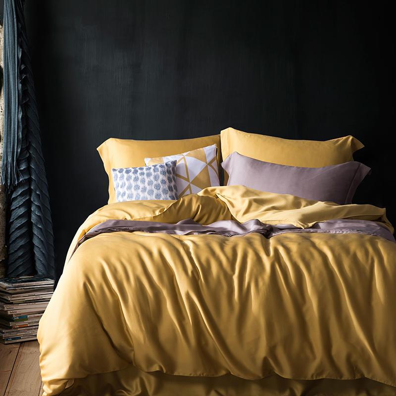 Effen kleur zomer zachte tencel zijde beddengoed set kingsize koningin geel dekbedovertrek zacht laken hoeslaken set parure de lit-in Beddengoed sets van Huis & Tuin op  Groep 1