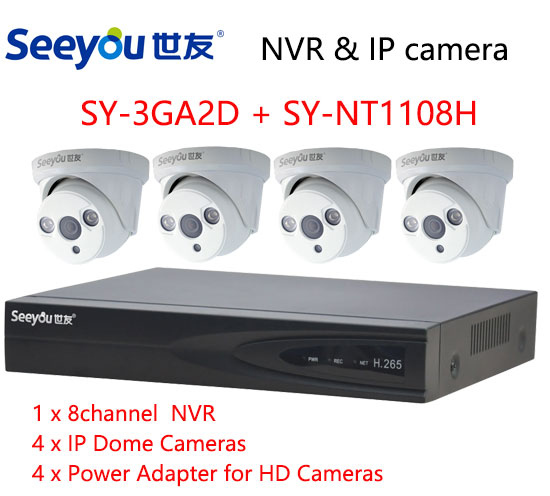 Seeyou 1080P Security Camera Kit NVR SY-NT1108H & IP Camera SY-3GA2D Security CCTV System for Home Easy to Install ...