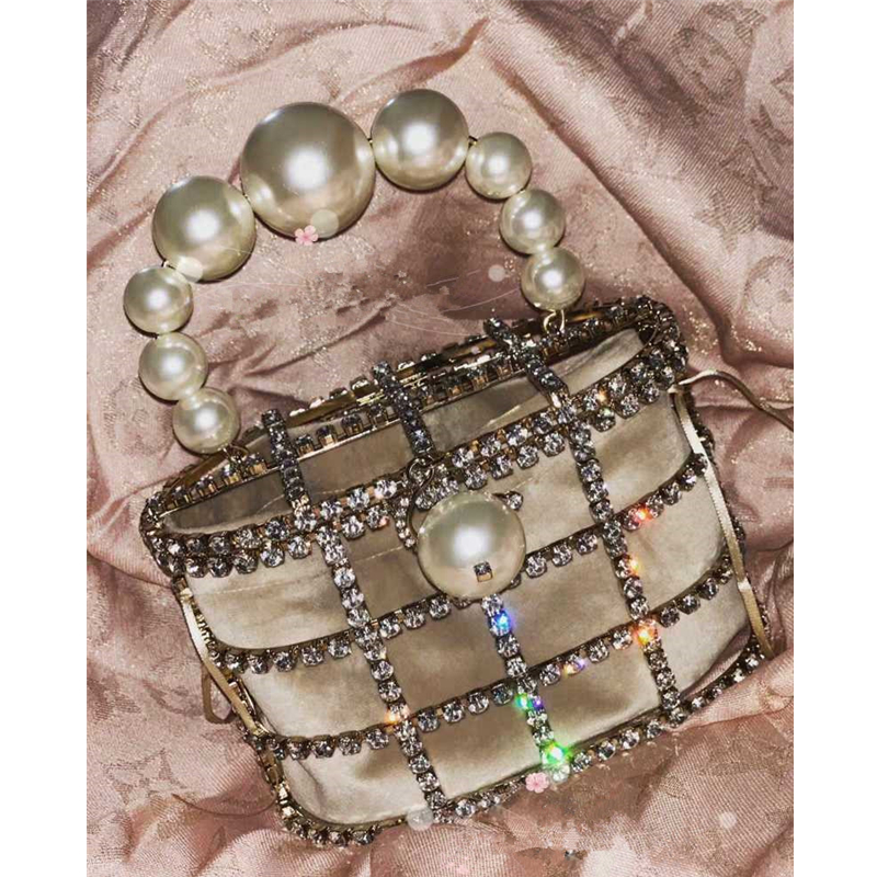 2019pearl Vintage Women Evening Bag Metal Hollow Out diamond Banquet Party Shoulder & Crossbody Bags Wedding Clutch Cage Handbag(China)
