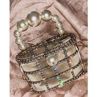 2019pearl Vintage Women Evening Bag Metal Hollow Out diamond Banquet Party Shoulder & Crossbody Bags Wedding Clutch Cage Handbag