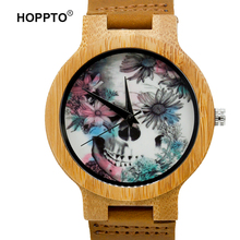 HOPPTO BrandFashion Wooden Watch Cranium and Flower Design Wrist Watch Particular Handmade Pure Bamboo Quartz Watch Males Ladies Present